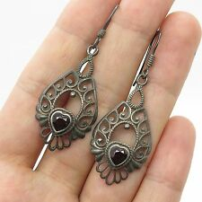 SMW Vtg 925 Sterling Silver Real Red Garnet  Gemstone Heart Earrings