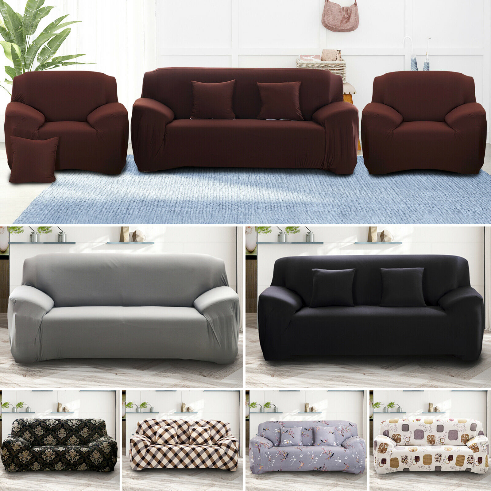 Jacquard Sofa Couch Slipcover Stretch Covers Elastic Fabric Settee Protector