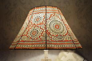 cuero pintado original Piso lámpara en de título rojo ver Pantalla de Detalles Mandalacortina Grande ámbar De Floral de E9W2HYID