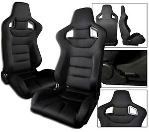 1 PAIR Black /& Red PVC Leather Racing Seats RECLINABLE W// SLIDERS FIT FOR Nissan