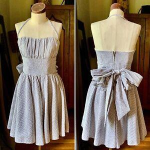 BETSEY JOHNSON Seersucker Strapless Blue Bow Dress 6