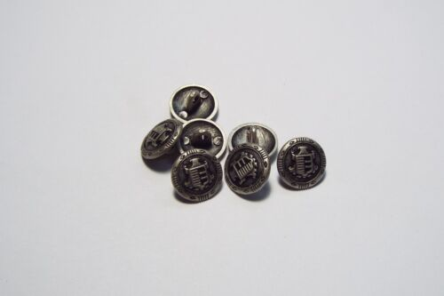 8pc 15mm Pewter Heraldic Crested Metal Military Blazer Coat Cardigan Button 2836