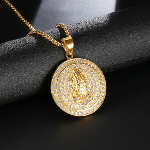 Praying Hands Mens Pendant Necklace Gold Color 316l Stainless Steel Ice Round Ebay