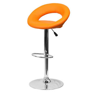 Fine Details About Bar Stool Swivel Adjustable Seat Metal Pub Counter Chair Modern Furniture Orange Gmtry Best Dining Table And Chair Ideas Images Gmtryco