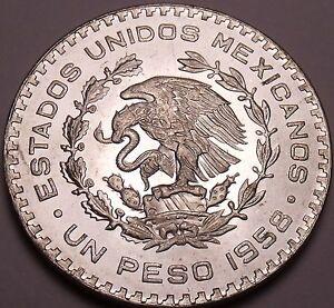 Huge Gem Unc Silver Mexico 1958 Peso~INDEPENDENCIA Y LIBERTAD~Fantastic~Free Shi