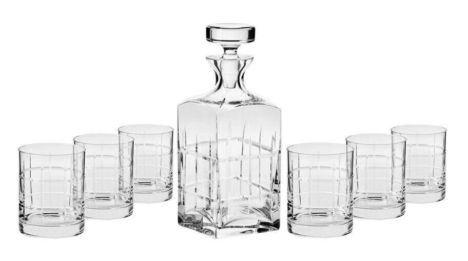 Whiskey Set Noble 7 tlg. Karaffe plus 6 Gläser Handgemacht Handmade NEU