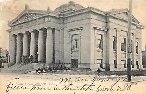 MUNCIE INDIANA~PUBLIC LIBRARY~1900s MARION STEWART PHOTO POSTCARD