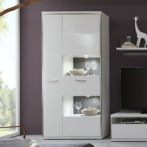Vitrine Trento Schrank Wohnzimmer weiß hochglanz und grau 3D Optik B ...