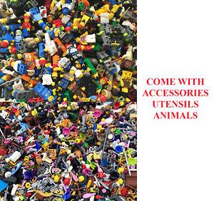 Lego-Town-City-Castle-Minifigures-w-Accessories-Animals-Random-Lot-of-10