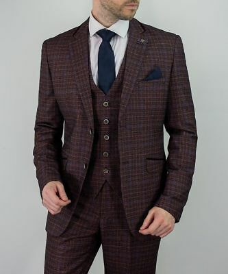 Mens Cavani Burgundy Wine Check Tweed Formal Wedding Slim Fit 3 Piece Suit New