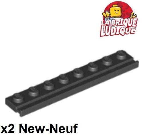 2x Plate Modified plaque 1x8 Door Rail rainure noir//black 4510 NEUF Lego