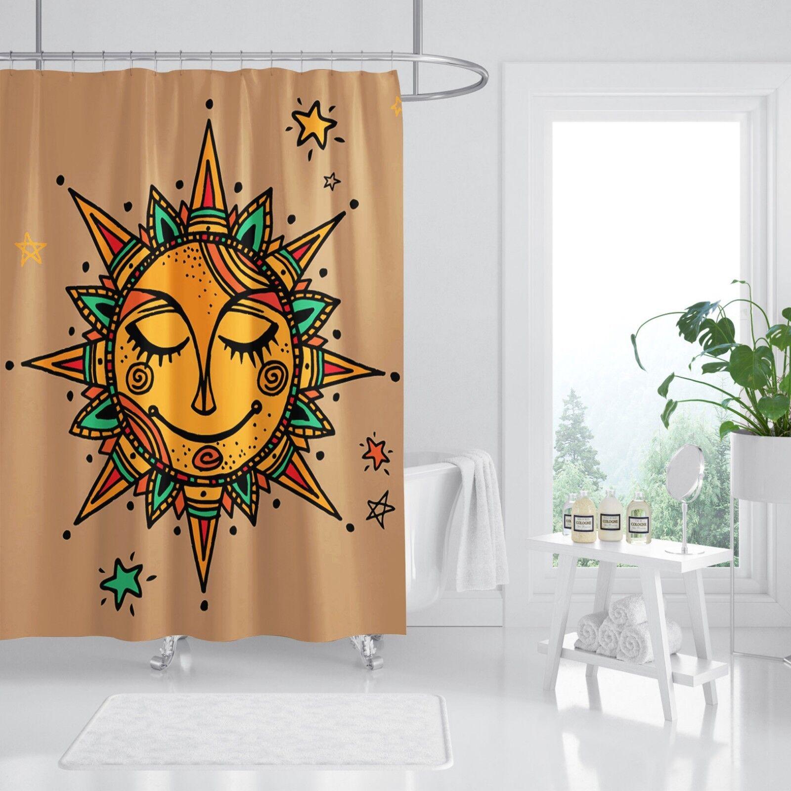 3D Sun Pattern 564 Shower Curtain Waterproof Fiber Bathroom Home Windows Toilet