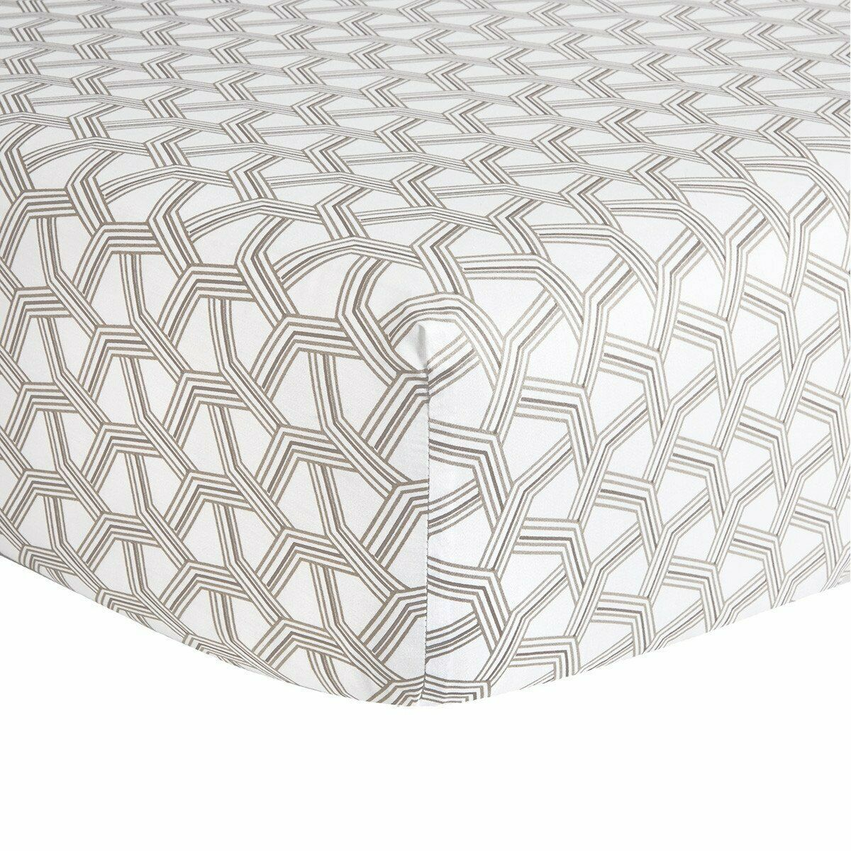 HUGO BOSS CONNECTION COTTON SATEEN FITTED SHEET IN GEOMETRIC PRINT