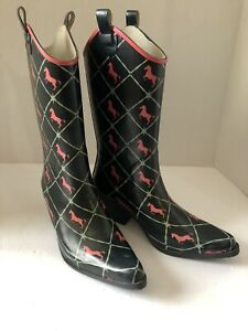 Women-039-s-Bit-And-Bridle-Boots-rain-garden-rubber-boots-Size-9