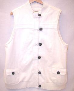 Old-Navy-Maternity-Long-Sherpa-Cotton-Vest-Women-XXL-Cream-White-Pockets-Zipper