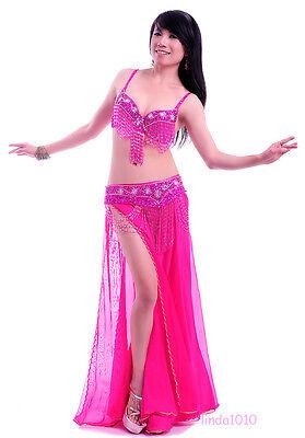 Performance Belly Dance Costume 3PCS Bra/&Belt/&Skirt 34B//C 36B//C 38B//C 10 colors