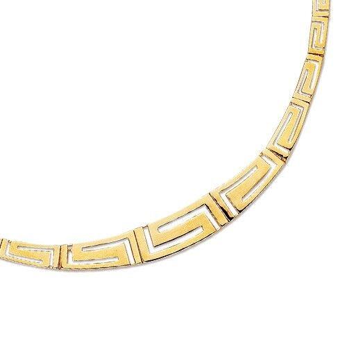 Or 14k Fashion grec clé Cut Out Open Bar Link 7.25 Bracelet 4 mm 5 g