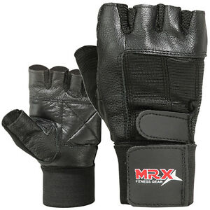 Weight-Lifting-Gloves-Cowhide-Leather-Fitness-Glove-Gym-Training-Exercise-Black