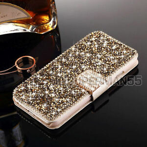 Luxury-Wallet-Metal-Crystal-Diamond-Flip-Leather-Case-Cover-For-iPhone-Samsung