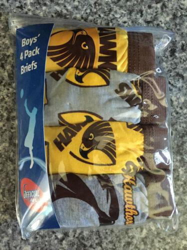 BNIP Boys Sz 2-3 Pack of 4 AFL Hawthorn 100/% Cotton Classic Briefs Underpants