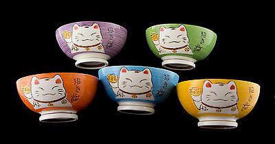 Grand Bol Chat Japonais Maneki Neko 19 cm rose Porcelaine du Japon Import 40653