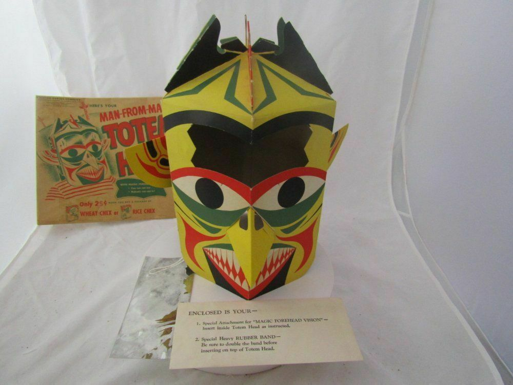 RARE 1954 SPACE PATROL PREMIUM  MAN FROM MARS TOTEM HEAD COMPLETE W ENVELOPE EXC
