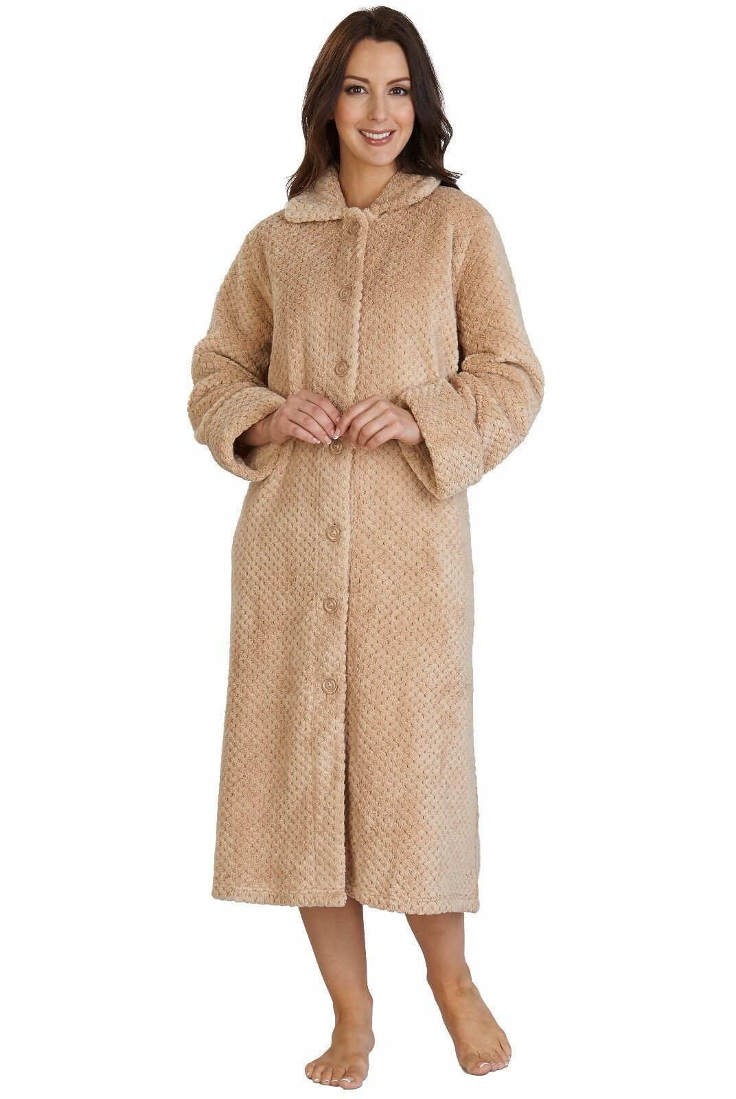 Slenderella Womens Button Dressing Gown. Luxury Super Soft Waffle Fleece. HC2341