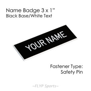 """Name Badge Tag Plate Black/White Safety Pin 3x1"""" Personalised Engraved Custom..."""