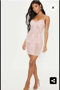 a4f1683c076de pretty little thing Pink Nude Strappy Lace Velvet Insert Bodycon Mini ...