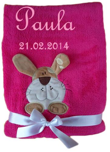 Kuschlige Babydecke Teddy Hund mit Namen Datum bestickt Kinderdecke Baby Geburt