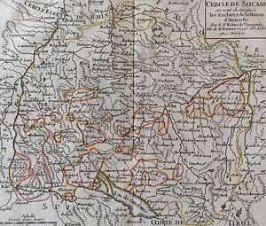 Efficace Cercle De Souabe Où Sont Distingués Les Enclaves Maison D'autriche Vaucondy 1751