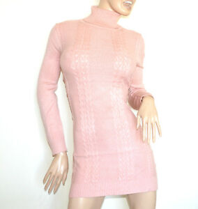 Robe-ROSE-femme-manche-longue-col-haut-tricot-chandail-maillot-maxi-pull-G76