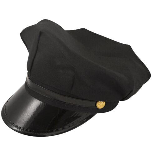 MEN/'S BLACK CHAUFFEUR HAT LIMO DRIVER FANCY DRESS COSTUME ACCESSORY