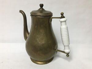Vtg-Brass-Teapot-Kettle-Porcelain-Handle-w-Lid-Pitcher-Rustic-Milk-Glass-8-3-4-034