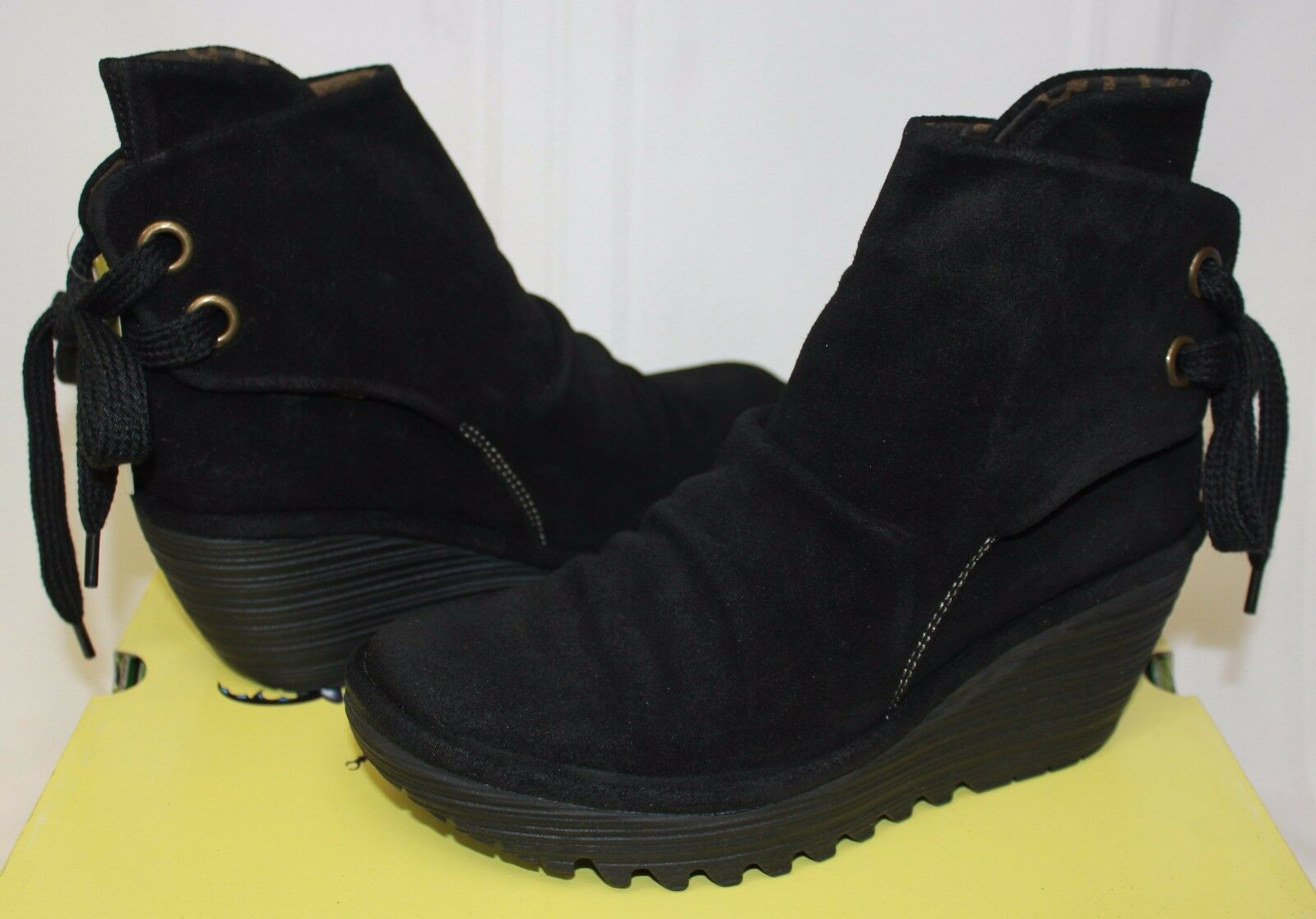 FLY LONDON Yama tie back booties Black Oil suede Boots New With Box!