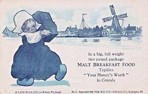 Burlington-Vt-Malt-Breakfast-FOOD-LITTLE-DUTCH-GIRL-Publicite-carte-postale-1906
