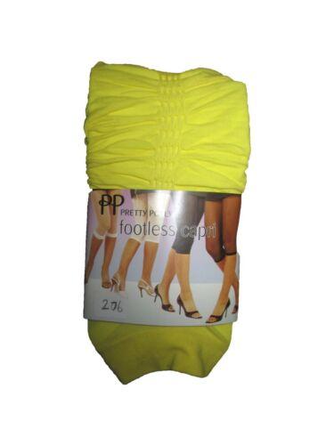 Femmes jaune canari footless froncé détail capri collants...