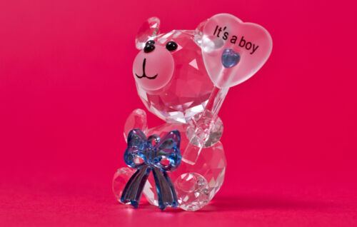 NEW New baby Boy Crystal Bow Bear holding Balloon Its a boy! Birth Gift