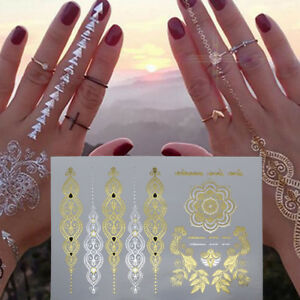 Gold-Silver-Metallic-Flash-Temporary-Tattoo-Inspired-Body-Arm-Makeup-Sticker
