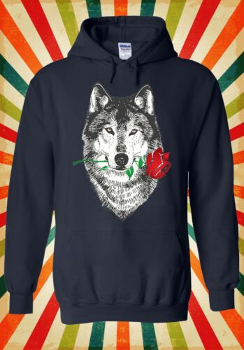 Red ROSE WOLF disegnare FUNNY COOL Retrò Uomini Donne Unisex Top Felpa Con Cappuccio Felpa 1577