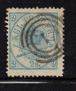 Denmark-Sc-11-1865-2-sk-blue-Royal-Emblems-stamp-used-Free-Shipping