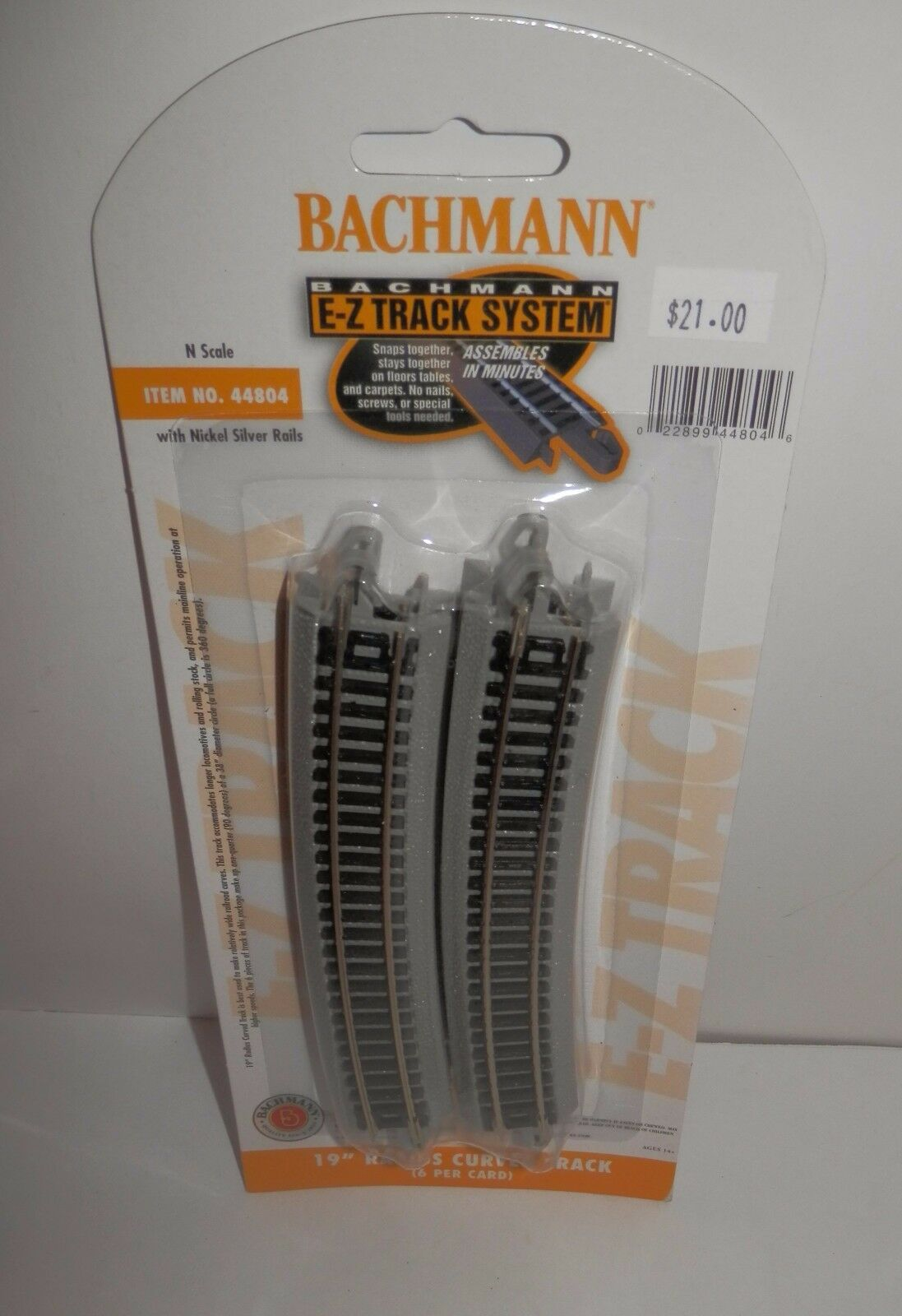 N Scale 44804 6//Card Bachmann 19 Radius Curved Track