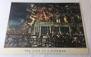 1952 trimmed calendar print ~ THE LIFE OF A FIREMAN
