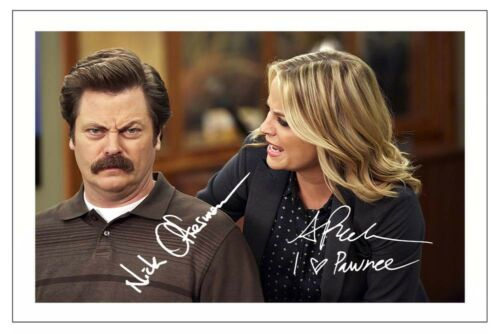 NICK OFFERMAN /& AMY POEHLER PARKS AND RECREATION AUTOGRAPH SIGNED PHOTO PRINT