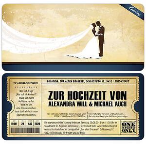 Das Bild Wird Geladen Einladungskarten Zur Hochzeit  Im Vintage Stil Eintrittskarte Ticket