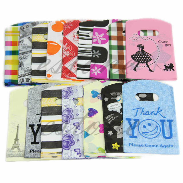 50pcs Wholesale Lot Pretty Mixed Pattern Plastic Gift Bag Shopping Bag 15X9CM