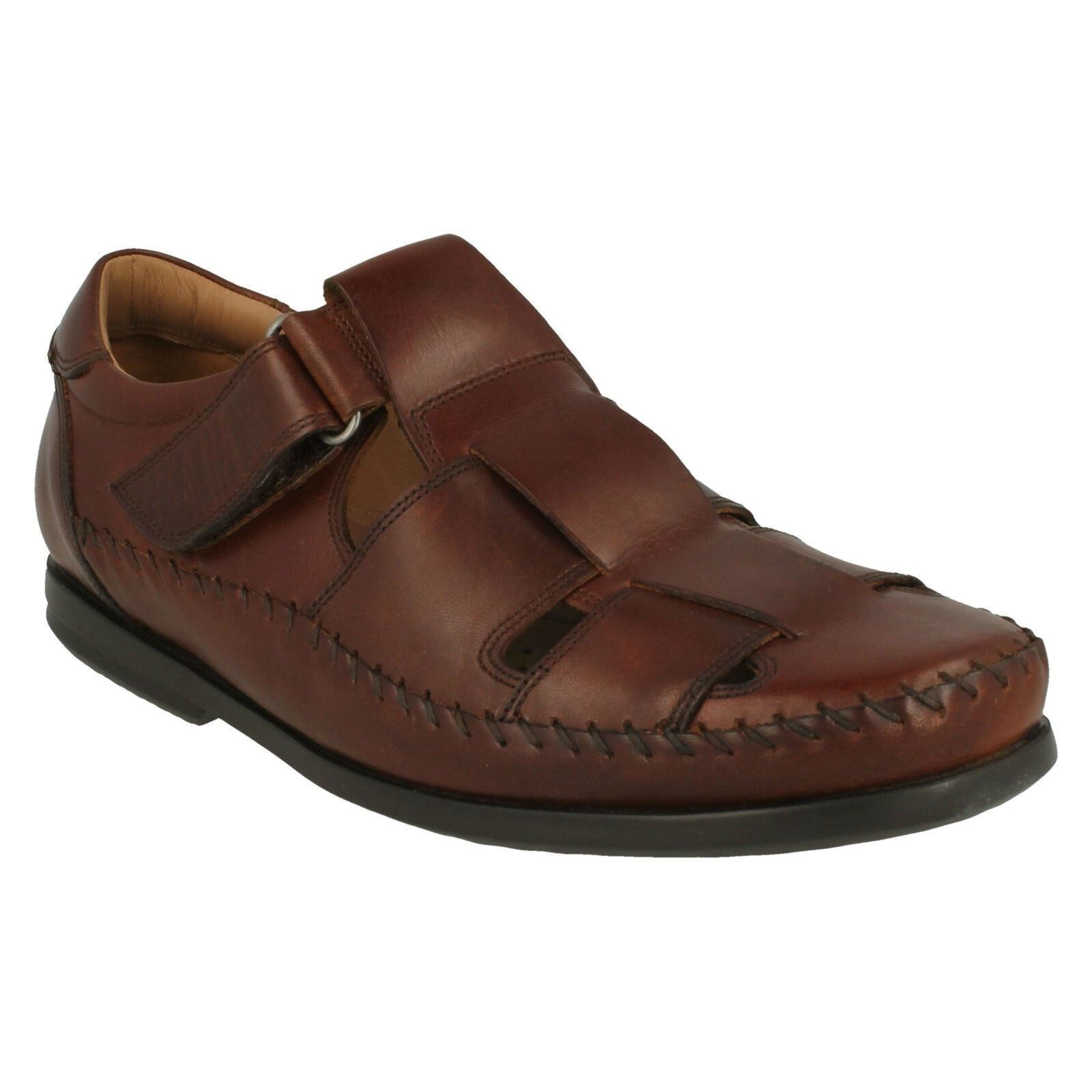 MENS CLARKS LEATHER UNSTRUCTUrojo CLOSED IN SUMMER SANDALS zapatos UN GALA STRAP
