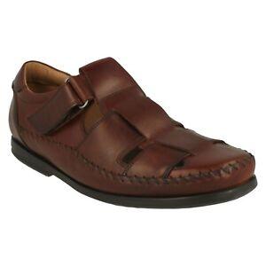 hombre Cuero de Clarks cerrado verano de color oscuro gala de para marrón estructurar en zapatos sandalias sin correa wrtRrCq
