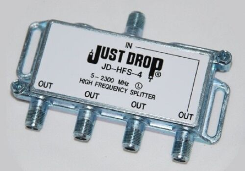 Just Drop JD-HFS-4 5-2300MHz 4 Way Splitter DISH NETWORK APPROVED HOPPER /& JOEY