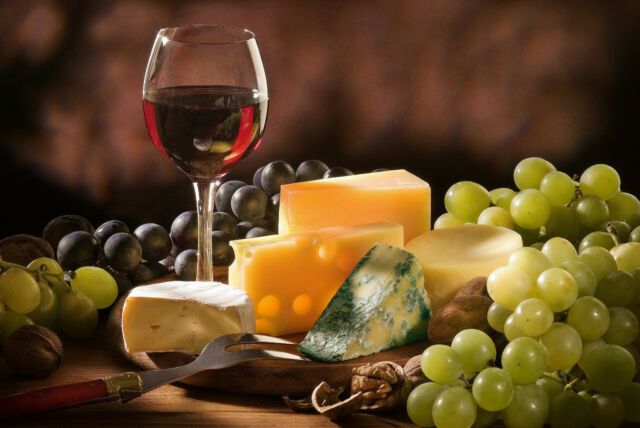 Framed Print - Still Life Wine and Cheese Platter with Grapes (Picture Poster)